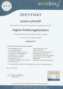 Zertifikat Vegane Ernährungsberaterin