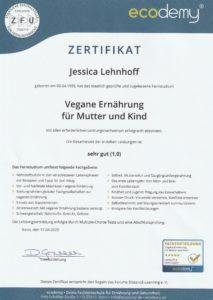 Zertifikat Vegane Ernährung für Mutter und Kind